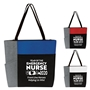 """Year of the Emergency Nurse 2020...Front Line Heroes, Helping Us Win!"" Color Block Pocket Zip Tote   Emergency Nurses Week, theme tote, ER Nurses Appreciation Tote, Recognition, Color, block, Zip, Multi-Function, Luggage Loop Tote Bag, tote, Imprinted, Travel, Custom, Personalized, Bag"