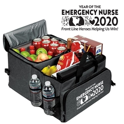 """Year of the Emergency Nurse 2020...Front Line Heroes, Helping Us Win!"" Deluxe 40 Cans Cooler Trunk Organizer  ER Nurses Week Theme Cooler, Emergency Nurses Theme Trunk Cooler, ER Appreciation Cooler, Nurses Appreciation Can Cooler, 40 cans cooler, Trunk Organizer and Cooler, Trunk Organizer and Cooler, Can Cooler and Trunk Organizer, Imprinted, With Logo, With Name On It"