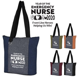 """Year of the Emergency Nurse 2020...Front Line Heroes, Helping Us Win!"" Heathered Fun Tote Bag   Emergency Nurses Theme Tote, ER Nurses Tote, Healthcare Appreciation, Theme tote, Skilled Nursing,  Appreciation Tote, Volunteer Recognition Tote, 210D Polycanvas Tote, Fun, Heathered, Tote Bag, Colorful, Tote, Bag, Imprinted, Personalized, Promotional, with name on it, Giveaway, Gift Idea"