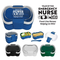 """Year of the Emergency Nurse 2020...Front Line Heroes, Helping Us Win!"" On-The-Go Convertible Lunch Set  Emergency Nurses, Week, Recognition, Appreciation, Lunch Dish, Lunch Plate, Lunch Set, Lunch Box, Imprinted, Personalized, Promotional, with name on it, Gift Idea, Giveaway, novelty pen, promotional pen, fidget spinner pen"