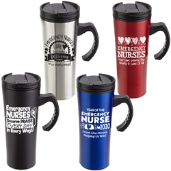 """Year of the Emergency Nurse 2020...Front Line Heroes, Helping Us Win!"" Outback 16 oz. Travel Mug   Emergency Nurses Appreciation theme tumbler, ER Nurse theme tumbler, Nurses Recognition Travel Mug, Emergency Nursing Appreciation, Travel Mug, Steel Travel Mug, Under $6 Travel Mug, bottle, promotional drinkware, custom vacuum insulated drinkware, employee wellness gifts, fitness promotional items"