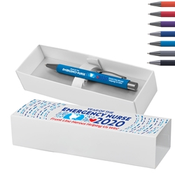 """Year of the Emergency Nurse 2020...Front Line Heroes, Helping us Win!"" Bowie Softy Pen & Gift Box  ER Theme Pen, Emergency Nurses Pen, ER Theme Decorated, Pen with gift box, Pen and Gift Box, Logo Pen and Gift Box, Imprinted, Personalized, Promotional, with name on it"