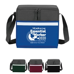 """Year of the Essential Worker 2020...Whatever it Takes is the Difference You Make"" Two-Tone Accent 12-Pack Cooler  Essential Worker, appreciation, recognition, lunch cooler, gifts, two tone, cooler, accent, lunch bag, 12 pack cooler, Promotional, Imprinted, Polyester, Travel, Custom, Personalized, Bag"