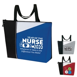 """Year of the Nurse 2020...Whatever It Takes Is The Difference You Make"" Slant All Purpose Zippered Tote Nurses, Appreciation, Recognition, Nursing, All Purpose tote,  Imprinted, Tote Bag, Travel, Custom, Personalized, Bag"