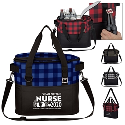 """Year of the Nurse 2020...Whatever it Takes Is The Difference You Make"" Northwoods Cooler Bag   Nurses, appreciation, theme,  cooler bag, cooler tote, Checkered Pattern Tote, Checkered Cooler,  Personalized, Promotional, with name on it, Gift Idea, Giveaway, novelty pen, promotional pen, fidget spinner pen"