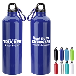 """Year of the Trucker 2020...Thank You for Kicking Ass During the Pandemic!"" Atrium 25 oz Aluminum Bottle with Carabiner  Truck Driver, Trucker, Appreciation, Recognition, Employee Recognition Bottle, Aluminum, Carabiner, Water Bottle, Sport Bottle, imprinted sport bottle, promotional, custom printed copper bottle, customized copper bottle, promotional drinkware, custom printed bottle, personalized stainless bottle"