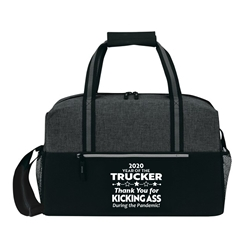 """Year of the Trucker 2020...Thank You for Kicking Ass During the Pandemic!"" Classic Weekend Duffle   Trucker, Truck Drivers, Truckers, appreciation, Theme, 19"" Sport, Deluxe, Duffle, Promotional, Imprinted, Polyester, Travel, Custom, Personalized, Bag"