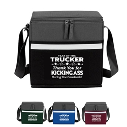 """Year of the Trucker 2020...Thank You for Kicking Ass During the Pandemic!"" Two-Tone Accent 12-Pack Cooler  Trucker, Truckers, appreciation, recognition, lunch cooler, gifts, two tone, cooler, accent, lunch bag, 12 pack cooler, Promotional, Imprinted, Polyester, Travel, Custom, Personalized, Bag"