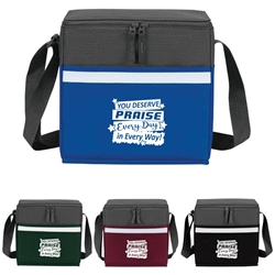 """You Deserve Praise Every Day, In Every Way"" Two-Tone Accent 12-Pack Cooler   Employee, staff, appreciation, lunch cooler, gifts, two tone, cooler, accent, lunch bag, 12 pack cooler, Promotional, Imprinted, Polyester, Travel, Custom, Personalized, Bag"