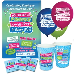"""You Deserve Praise Every Day in Every Way"" Celebration Party Pack  Poster, Cups, Balloons, Party, Pack, Celebration Pack, Employee, Staff,  Appreciation, Week, Day theme Celebration Pack"