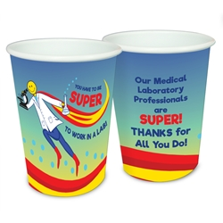 """You Have To Be SUPER To Work In A Lab!"" 17 oz Reusable Plastic Cups  Medical Lab Week, Medical, Laboratory, Week, party, Decorative, Recognition, Cups, Plastic Appreciation Cups, On Fire Appreciation Theme Cups, Plastic Party Appreciation Cups, Promotional,"