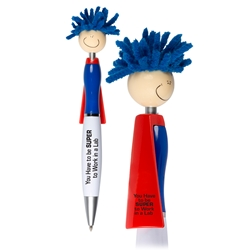 """You Have To Be SUPER to Work in A Lab!"" Superhero Pen   Superhero Pen, Pen with Cape, Hero Pen, Mop, Topper, Hair, Top, Smile, Pen, Stylus, Screen Cleaner, Pendant Pen, Pendant, Pen, Pens, Ballpoint, Aluminum, Imprinted, Personalized, Promotional, with name on it, giveaway, black ink"
