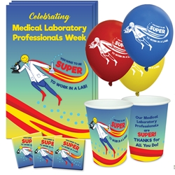 """You Have To Be Super To Work In A Lab!"" Party Pack Poster, Buttons, Pens, Cups, Celebration Pack, Medical Laboratory Week theme, Celebration, Party, Pack"