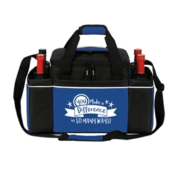 """You Make A Difference In So Many Ways!"" 24 Cans Easy Access Cooler Plus Wine Bottle Holders Rocket, 24 Can Cooler, Cooler and Wine Holder, Continental Marketing, Care Promotions, Lunch Bag, Insulated, Barrel, Travel, Employee, Nurses, Teachers, Volunteers, Healthcare, Staff Gifts"