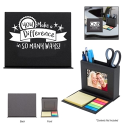 """You Make A Difference In So Many Ways"" Photo Caddy  Employee Appreciation Day, Week, Staff, Appreciation, Recognition, Sticky Flag, Sticky Note, Pen, Holder, caddy, organizer, Imprinted, Personalized, Promotional, with name on it, giveaway,"