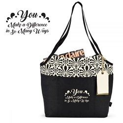 You Make A Difference In So Many Ways! Tori Cotton Fashion Tote  Trendy Tote, Fashion Tote, Everyday Tote,, Basic, Promotional, Imprinted, with name on it, logo, custom bag, gift bag, baby bag, diaper bag, fashion bag
