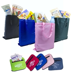 Zip-It Shopper Vinyl, Nylon, Non-Woven, folding, shopping, bag, Tote, Bag, zippered, compartment, pink, imprinted, name on it